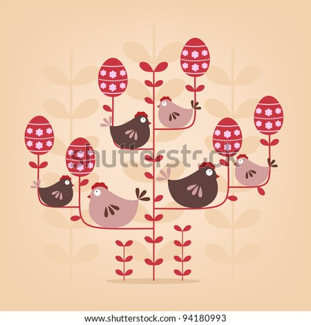 abstract easter tree with chickens
