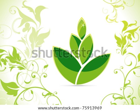 abstract eco green leaf vector illustration