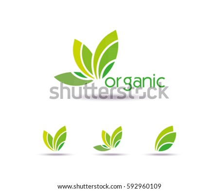 Abstract eco leaves Template logo design. Icon, Sign or symbol for organic, farm, nature or ecology. Vector flat design