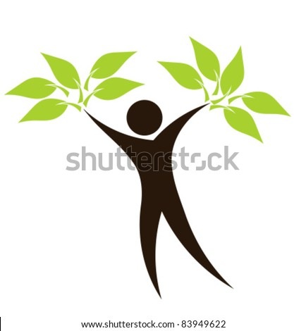 Abstract eco man with green leaves silhouette - vector ecological concept