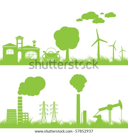 Abstract ecology industry and nature background vector illustration