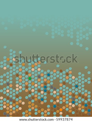 Abstract editable vector background of hexagons with copy space