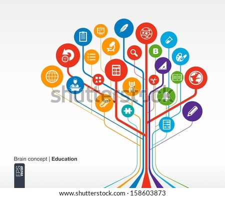 Abstract education background with lines and circles. . Brain concept with science, history, bell, school, calc, geography, biology, pencil and microscope icon. Vector infographic illustration.