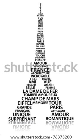 Abstract Eiffel tower made from relate words in French language