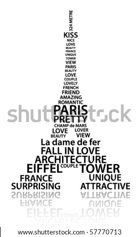 Abstract Eiffel tower made from words which relate with France and Paris
