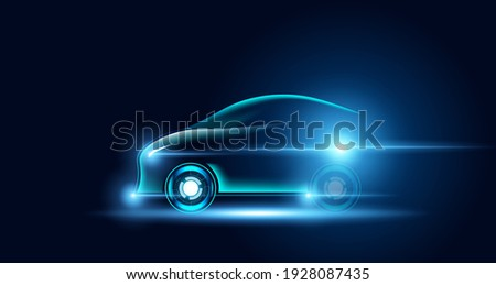 Abstract electric cars In the illustration, electric cars are powered by electric energy. Future energy