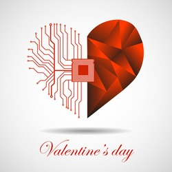 Abstract electronic circuit board in shape of heart, technology background. Happy Valentine's Day, vector illustration eps 10