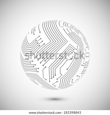 Abstract electronic devices or computer circuits global network sphere emblem poster vector illustration