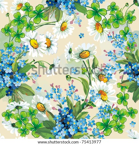 Abstract Elegance floral seamless pattern. Stylish beautiful vector illustration texture with forget-me-not. - stock vector