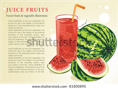 Abstract Elegance food background, Vector illustration with of juice and watermelon.
