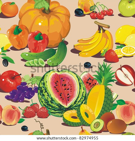 Abstract Elegance seamless food pattern, fruit vector illustration - stock vector
