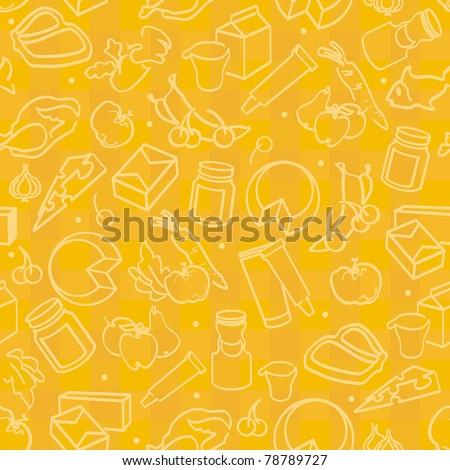 Abstract Elegance seamless food pattern, vector illustration