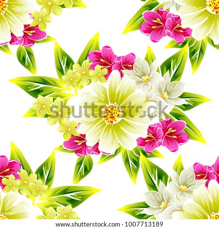 Abstract elegance seamless pattern with floral background #1007713189