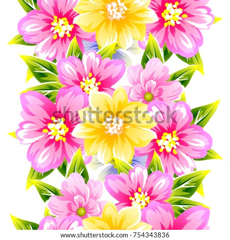 Abstract elegance seamless pattern with floral background #754343836