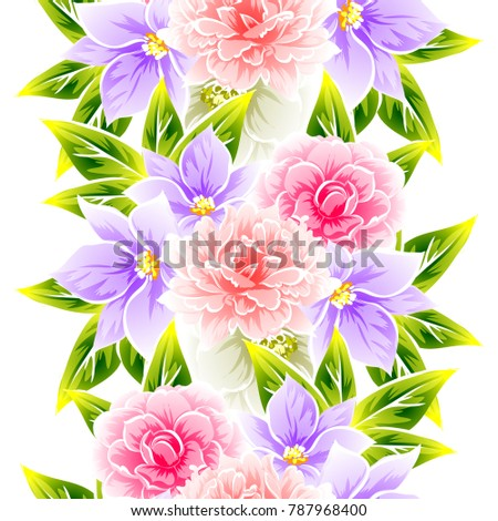 Abstract elegance seamless pattern with floral background #787968400