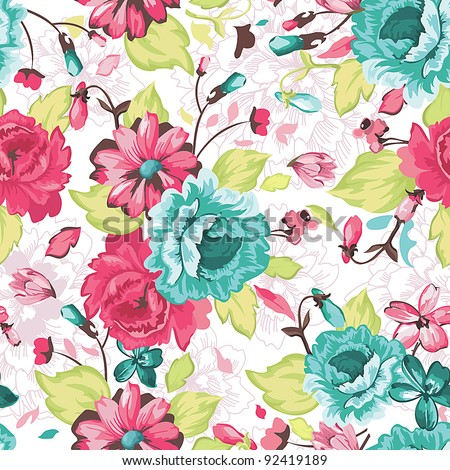 stock vector abstract elegance seamless pattern with floral background 92419189 - Каталог — Фотообои «Цветы»
