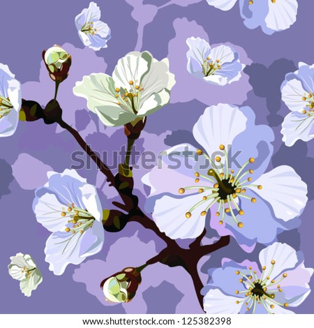 "Abstract Elegance Seamless pattern with floral background. Blossoming apple-tree branches. Vector illustration. Album ""Apple-tree flowers""."" Vector beautiful seamless surface""."