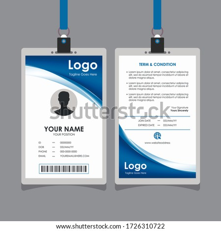 Abstract Elegant Blue Curve Id Card Design, Professional Identity Card Template Vector for Employee and Others Stock photo ©
