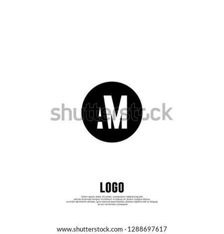 abstract elegant circle shape with AM logo letters design concept