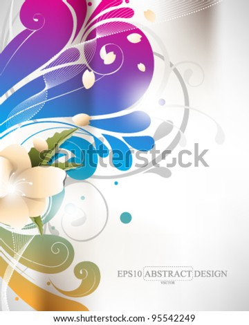 abstract elegant colorful foliage elements illustration. eps10 vector format