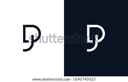 Abstract elegant line art letter DJ logo. This logo icon incorporate with letter D and J in the creative way. Stock fotó ©