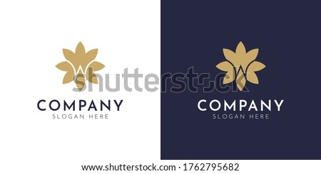 Abstract Elegant Luxury Flower Logo With W Letter Vector. Beauty Jewelry Premium Floral Logo Design. Modern Unique Minimalist Flower W Icon Vector. Zdjęcia stock ©