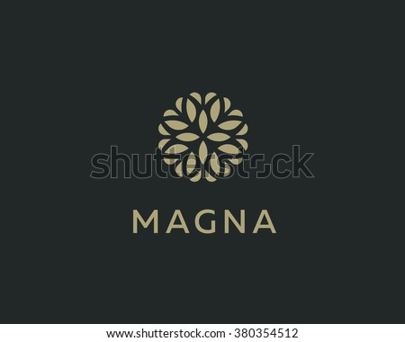 Abstract elegant tree leaf flower logo icon vector design. Universal creative premium symbol. Graceful jewel boutique vector sign. #380354512