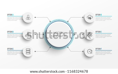 Abstract elements of graph infographic template with label, integrated circles. Business concept with 6 options. For content, diagram, flowchart, steps, parts, timeline infographics, workflow layout,