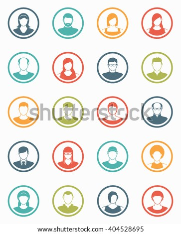 Abstract  Elements.Social icons.People icon.People Flat icons collection.User Icons and People Icons with Background.