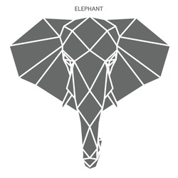 Abstract elephant, geometric polygonal style portrait of elephant, grey color on white background, vector file