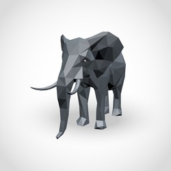 Abstract elephant polygonal isolated on white background. Vector illustration.