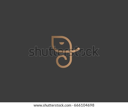 Abstract elephant vector logo design. Creative linear animal gold logotype