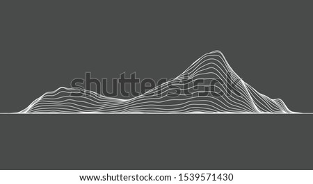 abstract elevation contour topography line for concept about minimal mountain , hill , wave form.