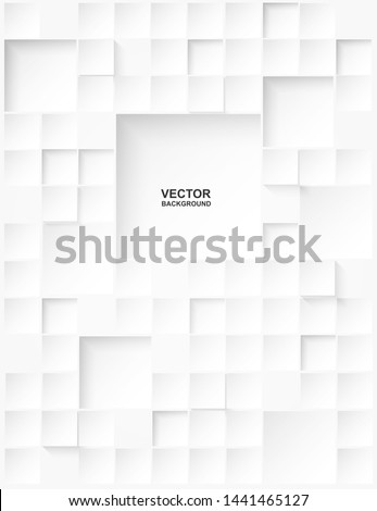 Abstract. Embossed paper square white Background ,light and shadow .Vector. #1441465127