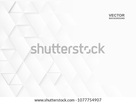 Abstract. Embossed paper triangle white Background ,light and shadow ,Vector #1077754907