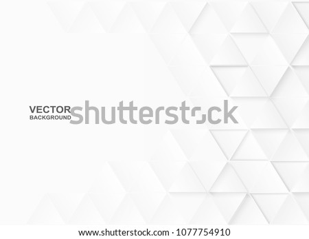 Abstract. Embossed paper triangle white Background ,light and shadow ,Vector #1077754910