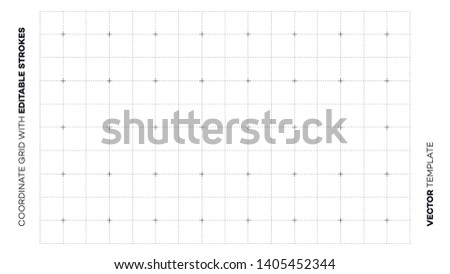 Abstract Empty Blueprint Grid With Editable Outline Strokes. Vector Blank Page Backdrop Template.