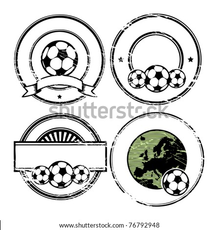 Abstract empty grunge rubber stamp set with space for text, soccer theme, vector illustration