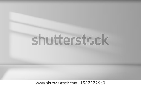 Abstract Empty White Room Interior With Light Beam On Wall. EPS10 Vector
