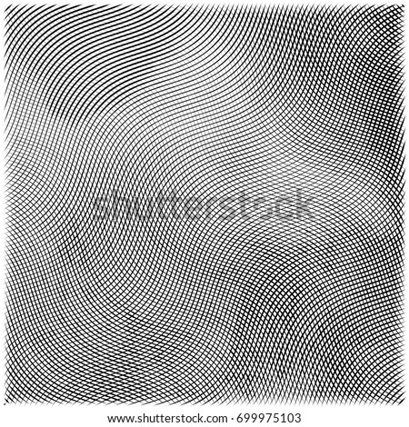 Abstract engraving grunge texture. Wavy etching background. Vector illustration