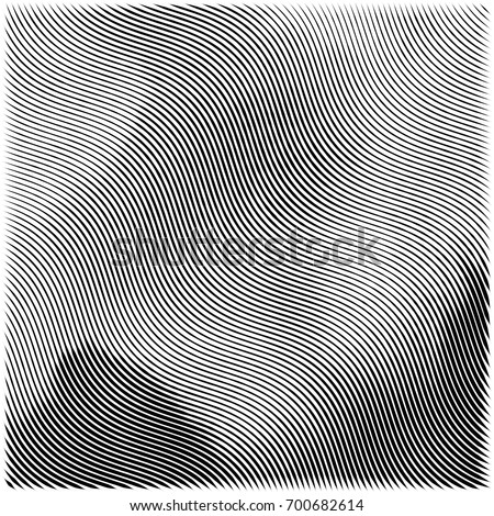 Abstract engraving grunge texture. Wavy etching watercolor background. Vector woodcut style illustration