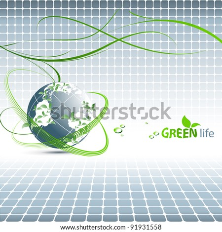 abstract environmental vector background with globe and copy space. Eps10