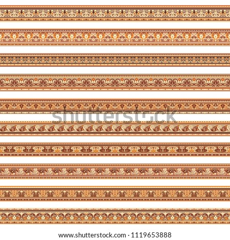 Abstract ethnic nature tile stripes. Ornamental vector borders set #1119653888