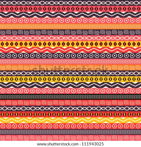 Abstract Ethnic Seamless Background. Red Black Geometric Pattern