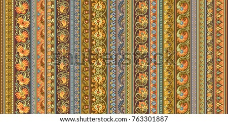 Abstract ethnic stripe pattern, ornamental vector background #763301887