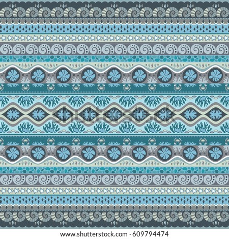 Abstract ethnic stripe pattern, ornamental vector background. Seamless pattern #609794474