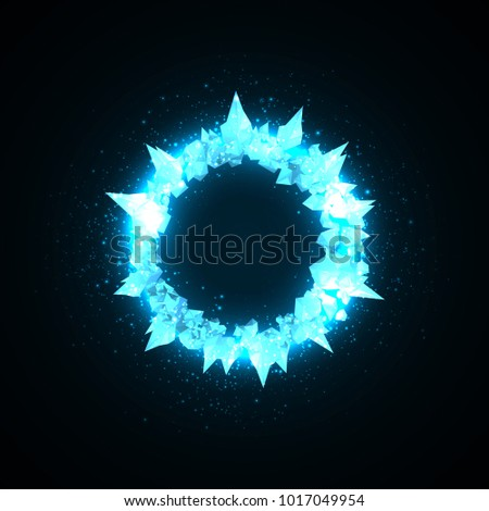 Abstract explosion background or rings of crystals for your text