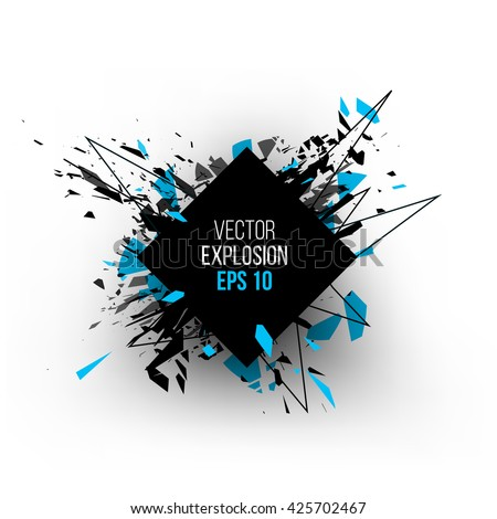 Abstract explosion cloud of black glass pieces on white background for design template with circle. Grunge vector illustration.