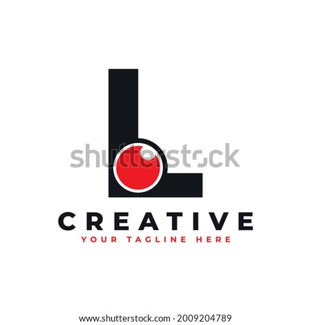 Abstract Eye Logo Letter L. Black Shape L Initial Letter with Red Eyeball inside. Use for Business and Technology Logos. Flat Vector Logo Design Ideas Template Element Stock fotó ©