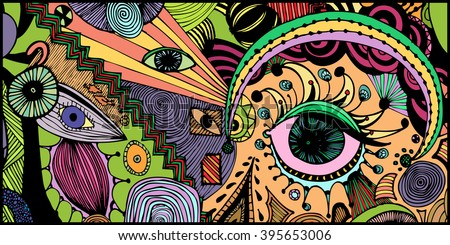 abstract eyes  freehand ink